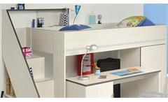 Hochbett Gravity 1 in Esche Struktur mit Schreibtisch Kinderbett Etagenbett