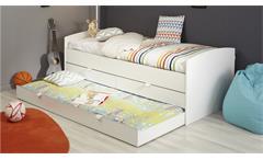 Stauraumbett Snow Einzelbett Bett in weiß mit Schubkästen Bettschubkasten 90x200