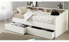 Stauraumbett Sleep 1 Einzelbett Bett in weiß mit Ablage Bettschubkasten 90x200