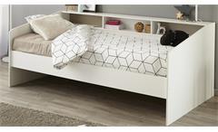 Stauraumbett Sleep 2 Einzelbett 90x200 Bett in weiß mit Ablage