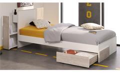 Jugendbett YOLO 6 Kinderbett 90x200 in weiß Loft Grey mit Anstellregal