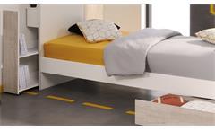 Jugendbett Yolo 6 Kinderbett 90x200 weiß Loft Grey mit Anstellregal Jugendzimmer