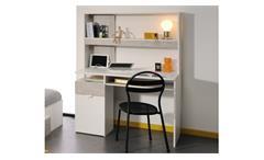 Schreibtisch YOLO 8 in weiß und Loft Grey mit erhöhter Ablagefläche