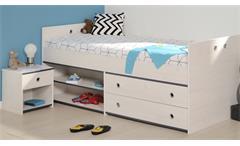 Kinderbett Set Smoozy 24 Nachtkommode Bett Kinderzimmer Kiefer weiß blau pink