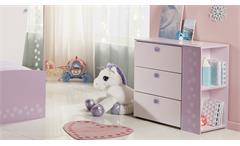 Kommode Cristal 8 Sideboard Anrichte für Kinderzimmer rosa und lila mit Glitzer