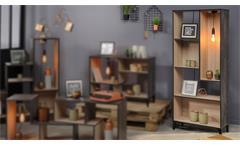 Regal EDISSON 5 Bücherregal in Eiche Kiefer mit Retro Beleuchtung