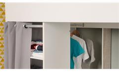 Hochbett Taylor 11 in weiß grau mit Leiter Schreibtisch Regal Vorhang 90x200 cm