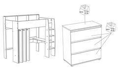 Hochbett Taylor 12 Bett weiß grau mit Leiter Schreibtisch Regal Kommode Parisot