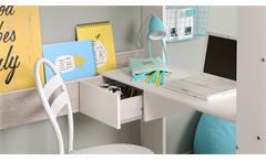 Hochbett Taylor 13 Bett weiß grau mit Leiter Schreibtisch Regal Kommode Parisot