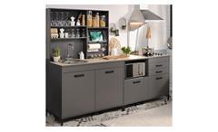Küche MOOVE 2 Einbauküche Küchenzeile grau und Eiche hell 3-teilig
