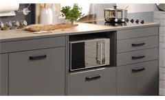 Küche Moove 2 Einbauküche Küchenzeile Küchenblock grau Eiche hell 3-teilig