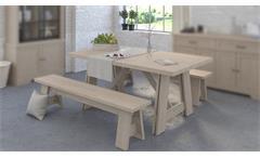 Esszimmer VANILLE 4 Parisot Set 3-teilig Tischgruppe Eiche Jackson 2 Sitzbänke