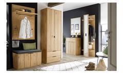 Garderobenset 3-teilig Lissabon Garderobe in Wildeiche Bianco massiv 160x45 cm