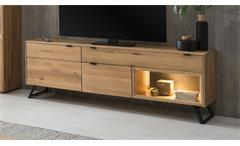 TV-Lowboard LISSABON in massiver Wildeiche Bianco 183x45