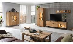 3-teilige Wohnwand Anbauwand Lissabon in massiver Wildeiche Bianco 285x45 cm