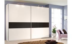 Schwebetürschrank SAVOY Weiß mit schwarzem Glas 315 cm