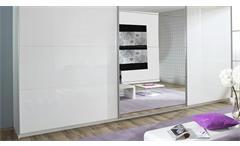 Schwebetürenschrank Beluga Schrank in weiß Hochglanz mit Spiegel 315 cm