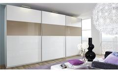Schwebetürenschrank Beluga Schrank in weiß sandgrau Hochglanz mit Spiegel 315 cm