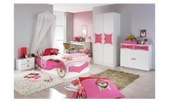 Kinderbett Jugendbett Bett Kate weiß und rosa Print Prinzessin 90x200 cm