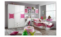 Kleiderschrank Kinderzimmer Schrank Kate weiß und rosa Print Prinzessin