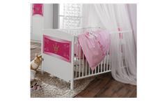 Babybett KATE weiß und rosa Print Prinzessin 70x140 cm