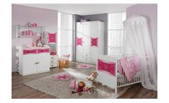 Babybett Sprossenbett Gitterbett Kate weiß und rosa Print Prinzessin 70x140 cm
