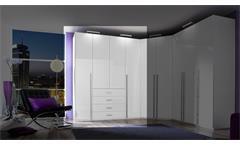 Kleiderschrank Elan Schrank Schlafzimmerschrank in weiß Hochglanz 181 cm