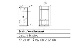 KLEIDERSCHRANK CELLE SCHRANK DREHTÜRENSCHRANK IN WEIß HOCHGLANZ! 91 cm