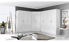 Eck-Kleiderschrank Celle Schrank Eckschrank Schlafzimmer in weiß hochglanz