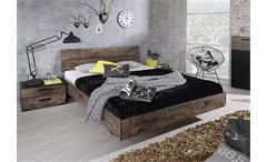 Bett SUMATRA Schlafzimmerbett in Vintage braun 160 cm
