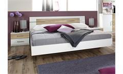Bettanlage BURANO Bett in weiß und Sonoma Eiche 180x200 cm