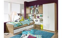 Jugendzimmer Set 2 EMILIO Sonoma Eiche und Weiß 4 tlg