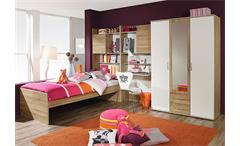 Jugendzimmer Set 3 EMILIO Sonoma Eiche und Weiß 4 tlg