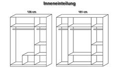 Kleiderschrank Krefeld Schrank in Weiß und Grau Metallic mit Spiegel 136 cm