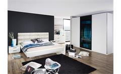 Schlafzimmerset LAHTI Weiß Petrol inklusive Beleuchtung