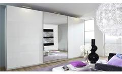 Schwebetürenschrank Beluga Schrank in weiß Hochglanz mit Spiegel 315x236