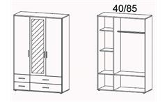 Kleiderschrank Rasant Schrank mit Spiegel weiß B 127 cm