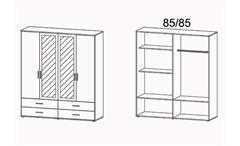 Kleiderschrank Rasant-Extra Schrank mit Spiegel Weiß Eiche Sonoma B 168 cm
