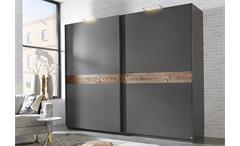 Kleiderschrank Bayamo Schrank graphit und Lärche natur  B 270 cm