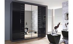 Kleiderschrank Telde Schlafzimmer garu-metallic Glas basalt und Spiegel B 226 cm