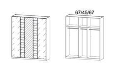Kleiderschrank Telde Schlafzimmer garu-metallic Glas basalt und Spiegel B 181 cm