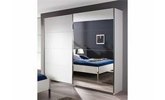 Schwebetürenschrank Moita Kleiderschrank weiß und Spiegel B 271 cm