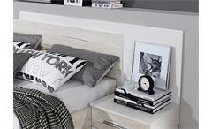 Schlafzimmer 2 Saragossa Kleiderschrank Bettanlage weiß Eiche Sanremo weiß