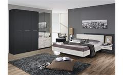 Schlafzimmer Saragossa Schrank Bettanlage Grau-Metallic Eiche Sanremo weiß
