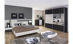 Schlafzimmer 2 Saragossa Schrank Bettanlage Grau-Metallic Eiche Sanremo weiß