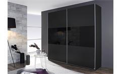 Schwebetürenschrank LORIGA Grau Glas Schwarz 218 cm