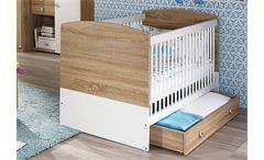 Babybett Indira Babyzimmer Eiche Sonoma weiß 140x70 cm