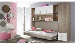 Schrankbett ALBERO mit Regal & Kleiderschrank Bettüberbau Eiche Weiß