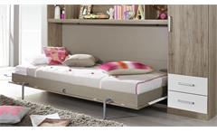 Schrankbett Albero Regal Kleiderschrank Bettüberbau in Eiche Weiß Funktionsbett