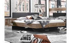 Bett Montreal Schlafzimmer Doppelbett Lärche natur Lederlook basalt 180x200 cm